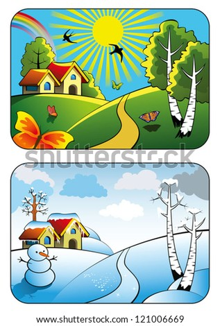 Two season, rural landscape in summer and in winter, vector illustration - stock vector