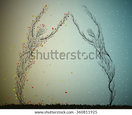 two seasons concept, autumn and winter man looking surrealism trees, two tree love forever, plant surrealism, vector - stock vector