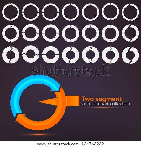 Two segment graph circular charts clip art set, in seven template design variations and three variations of thickness - stock vector
