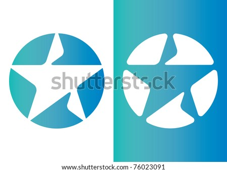 Two separate drawings of stars on the floor - stock vector
