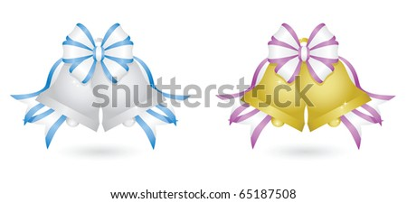 Two sets of sparkling wedding bells: silver bells with blue and white ribbon and gold bells with purple and white ribbon - stock vector