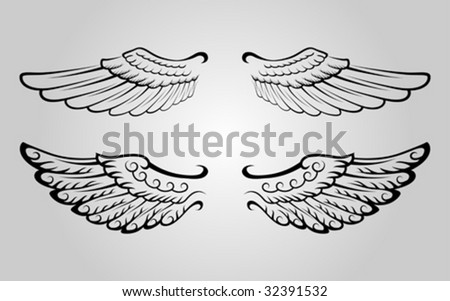 Two sets of wing vector - stock vector