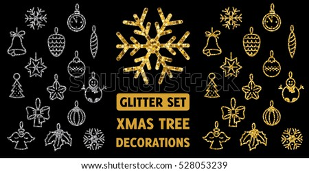 Two sets with Xmas and new year tree decorations. Golden and silver glitter. Flat colors only.