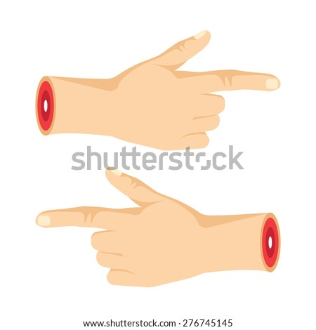 Two severed pointng hands with pointing fingers. Creative modern graphic design concept. Navigation signs. Vector illustration isolated on white background. - stock vector
