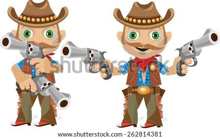 two Sheriff's fun with a mustache and revolvers from the wild West - stock vector
