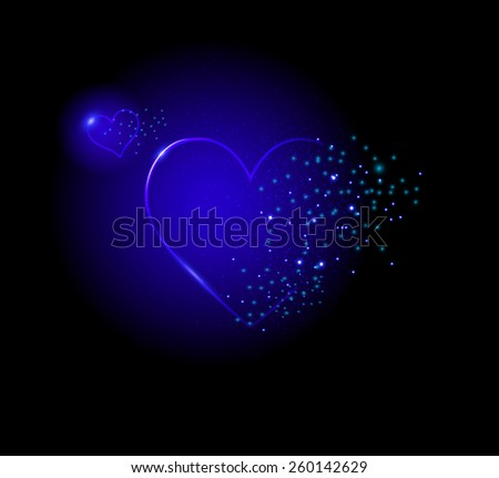 Two shiney  blue hearts on black background, night blue sparkle - stock vector