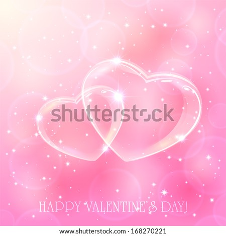 Two shinny hearts on pink background with stars, illustration. - stock vector