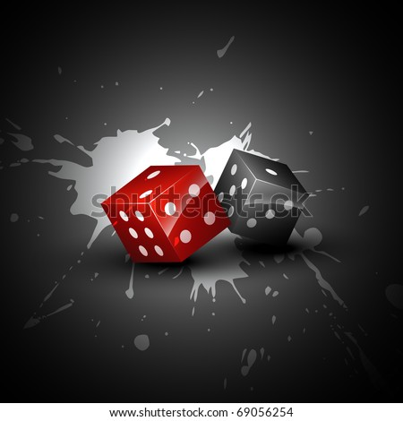 two shiny dices on grungy background - stock vector