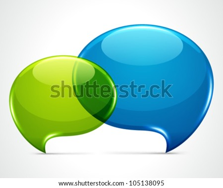 Two shiny speech bubbles vector background eps 10. - stock vector
