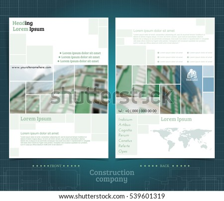 Two sided brochure or flayer template design with exterior building blurred photo elements. Mock-up cover in green vector modern style