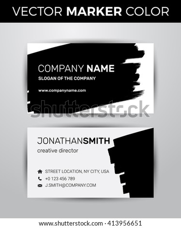 two sided business card template black stock vector 437779660 shutterstock. Black Bedroom Furniture Sets. Home Design Ideas