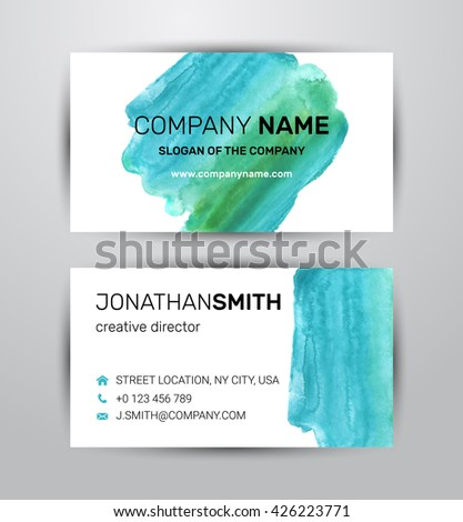 Two sided business card template. Green paint strokes markers. - stock vector