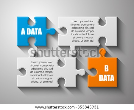 Two sided 3d puzzle presentation infographic template with explanatory text field for business statistics - stock vector
