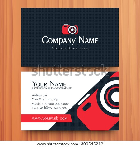 Two sided presentation of professional business or visiting card design on wooden background. - stock vector