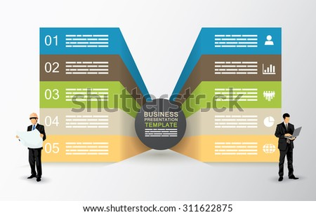Two sided presentation template with five fields - stock vector