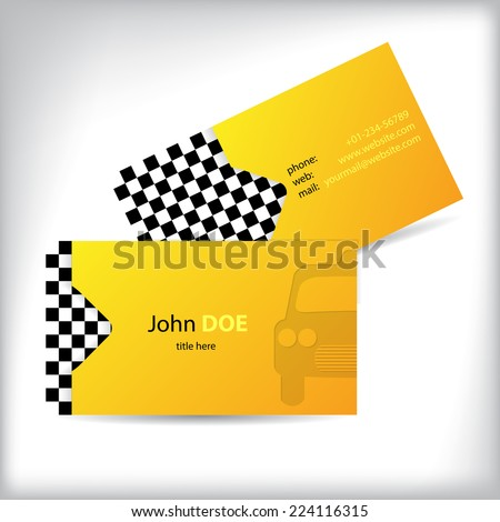 Two sided taxi business card design with car silhouette - stock vector