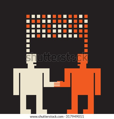 two sides trying to understand each other and make a business deal - stock vector