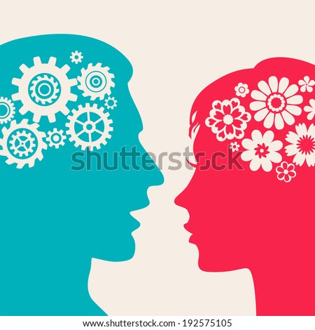Two silhouettes - man with gears, woman with flowers - stock vector
