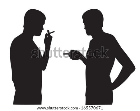Two silhouettes of smoking men on a white background - stock vector