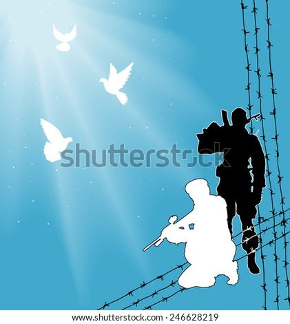 Two silhouettes of soldiers against the backdrop of barbed wire, light, sunshine. Above them three white doves. - stock vector
