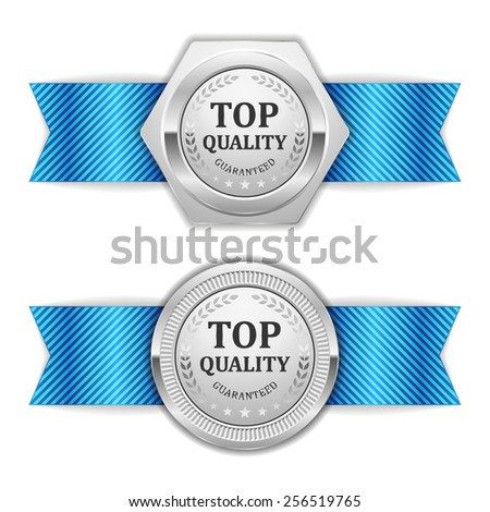 Two Silver Top Quality Badge With Blue Ribbon On White Background - stock vector