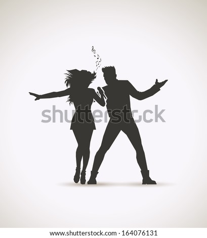 Two singers - vector illustration - stock vector