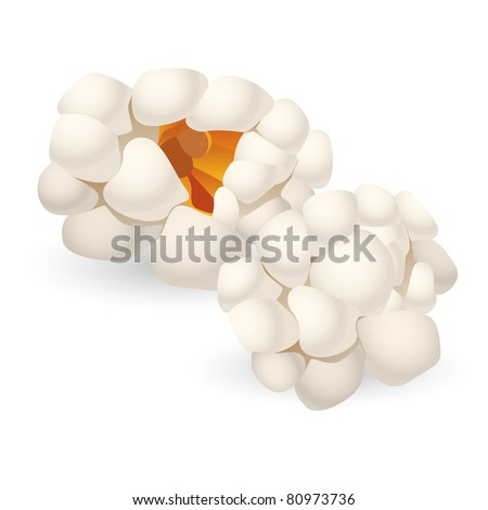 Two single pieces of isolated popcorn. Illustration on white background - stock vector