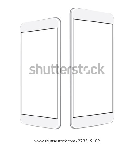 two sizes of white mobile smartphone with blank screen isolated on white background, angled position side by side. eps 10 vector illustration - stock vector