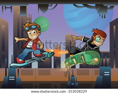 Two Skater Boy on Hoverboard In Futuristic City with Buildings and Green Blue Moon Cartoon Vector - stock vector