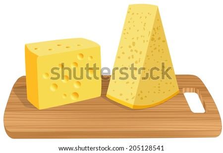 two slices of cheese on a wooden board