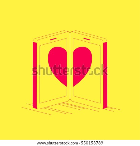 Error     Page Sad Panda Pointing Stock Vector               Two smartphones with the heart on its screens  Online dating concept illustration