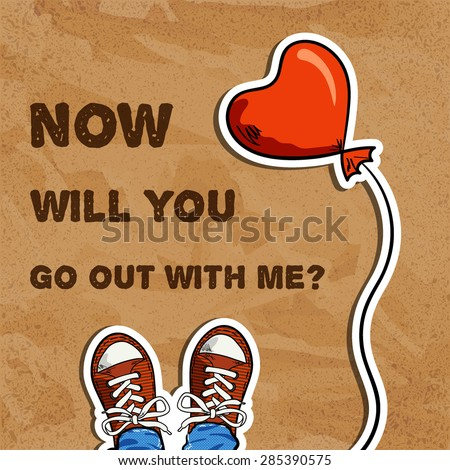 two sneakers, red balloon in heart shape, inscription with invitation for go out, brown cardboard background, top view, vector illustration - stock vector