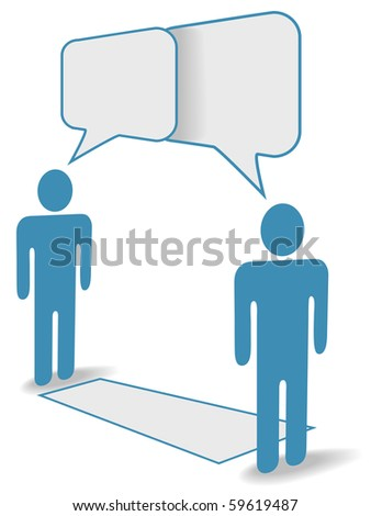 Two social media people chat across communication distance copy space. - stock vector