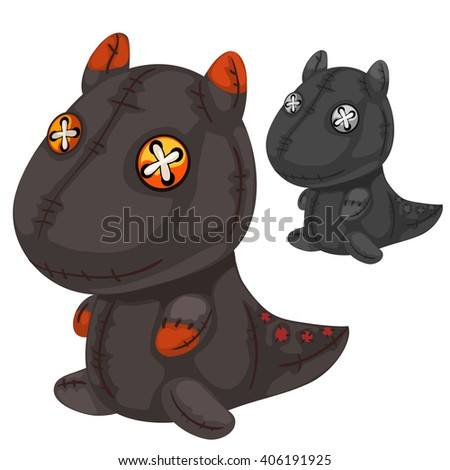 Two soft toys in the form of dragon on a white background. Vector illustration. - stock vector