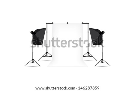 Two softboxes and white photo background isolated on white. - stock vector