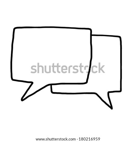 two speech bubble / cartoon vector and illustration, black and white, hand drawn, sketch style, isolated on white background. - stock vector