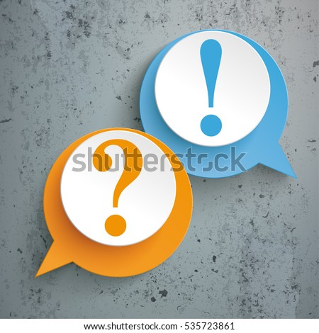 Two speech bubbles with question and answer on the white background. Eps 10 vector file.