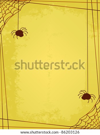 Two Spiders Spinning a Web Frame/Border on a Vintage style Sepia - stock vector