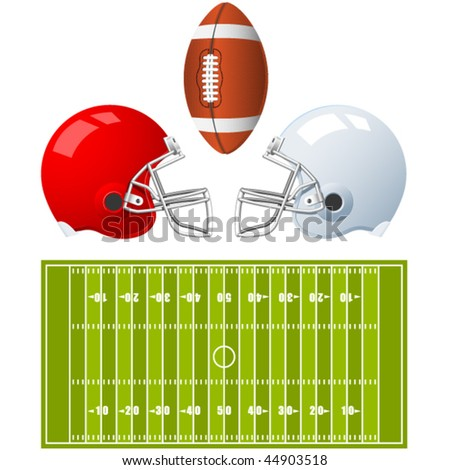 Two sport Helmets and field for American Football - stock vector