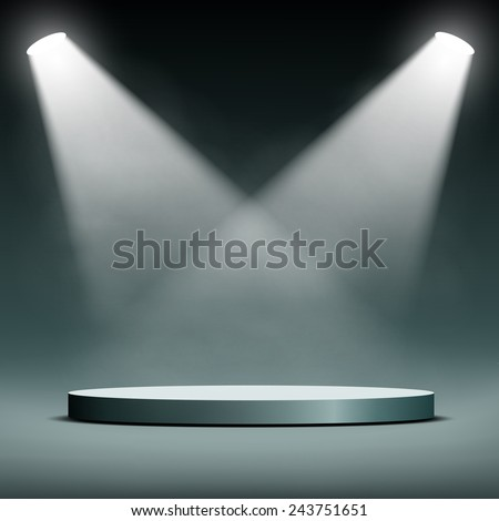 two spotlights illuminate the podium for the presentation - stock vector