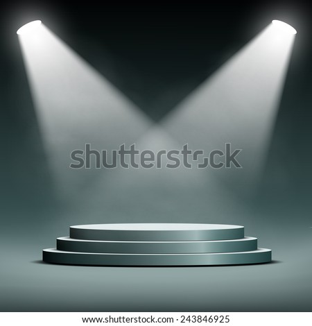 two spotlights illuminate the podium with steps - stock vector