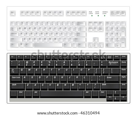 Two standart pc keyboards isolated on white. Vector illustration. - stock vector