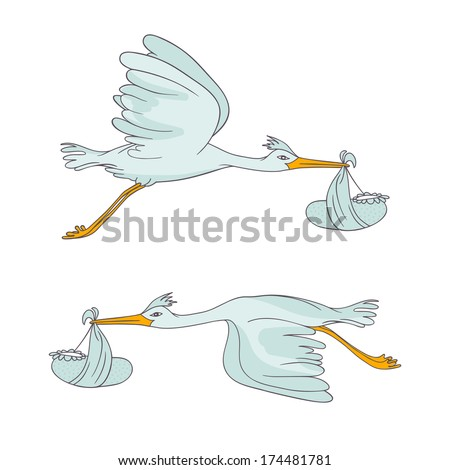 two stork flying with children - stock vector