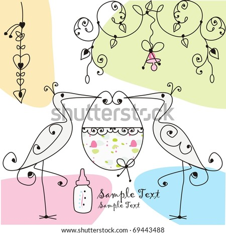 two storks and baby basket - stock vector