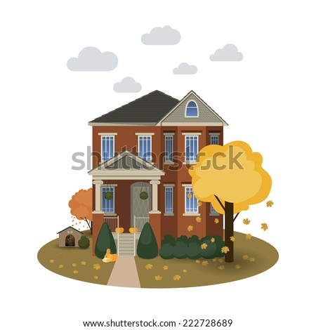Two story autumn house with falling leaves and decorated with pumpkins on isolated background - stock vector