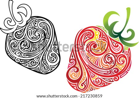 Two strawberry berries - stock vector