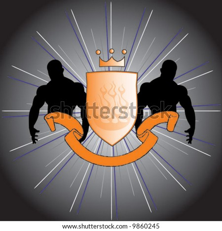 Two strong men with a shield are a perfect logo, or tatoo design of an emblem of a fight club. Vector. - stock vector