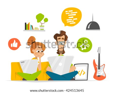 Two students characters in room with computer notebook laptop Flat web vector illustration for infographics
