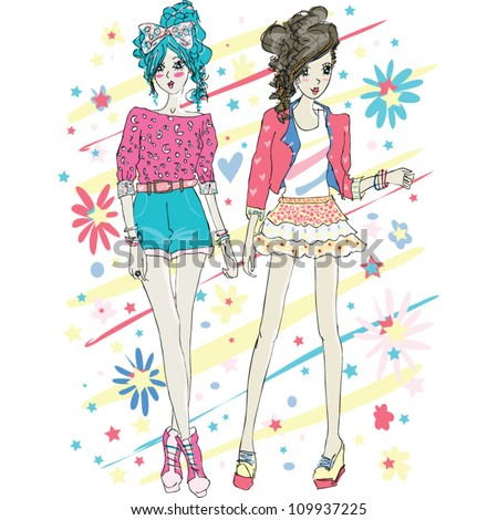 two stylish girls - stock vector