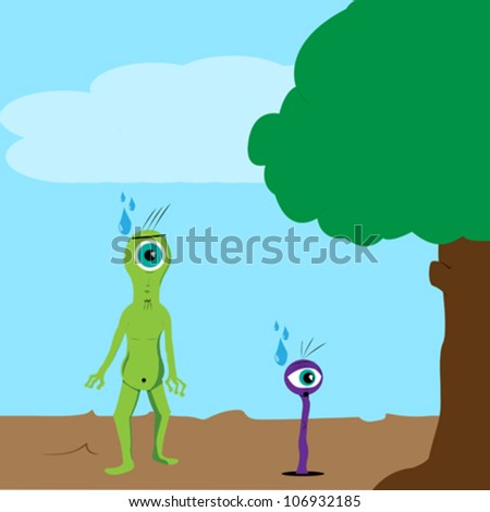 Two stylized aliens on abstract background - stock vector